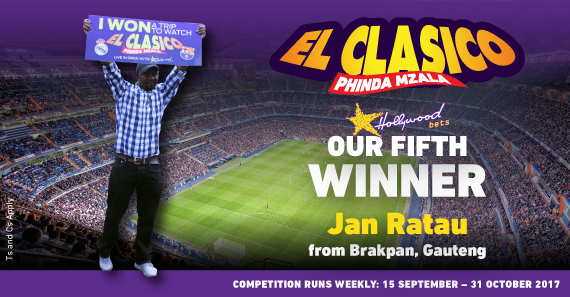 Meet the 5th winner of Hollywoodbets' 2017/18 El Clasico promotion, Jan Ratau from Brakpan!