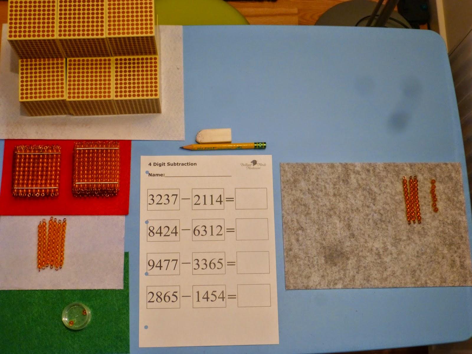 Family Fecs Montessori Activity Static Subtraction With