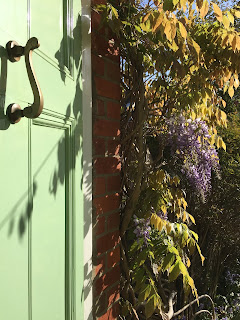 Green front door, brass knocker and wisteria