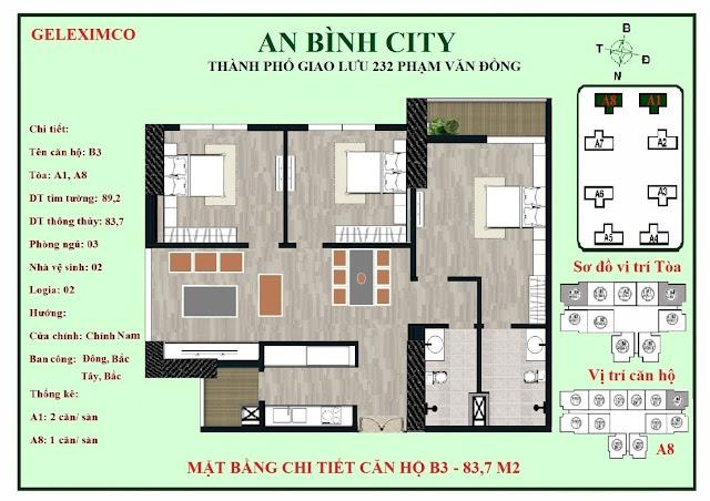 Mặt bằng thiết kế căn hộ B3 - 83m2 An Bình City