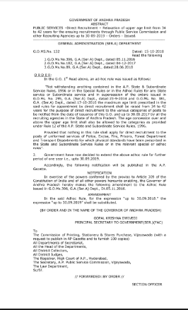 Relaxation of Upper Age Limit from 34 to 42 Years G.O : 132 Released AP Government up-to 30-09-2019