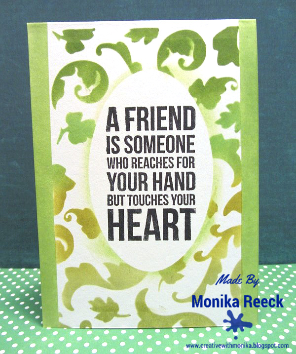 Creative With Monika 2 Green Cards A Friendship And A Birthday Card