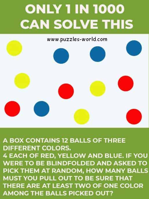 12 Balls of 3 Different Colors Puzzle