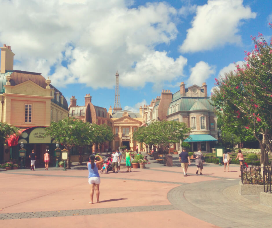 A view of the France pavilion in Epcot Walt Disney World - not a place to go to avoid the heat in Walt Disney World.