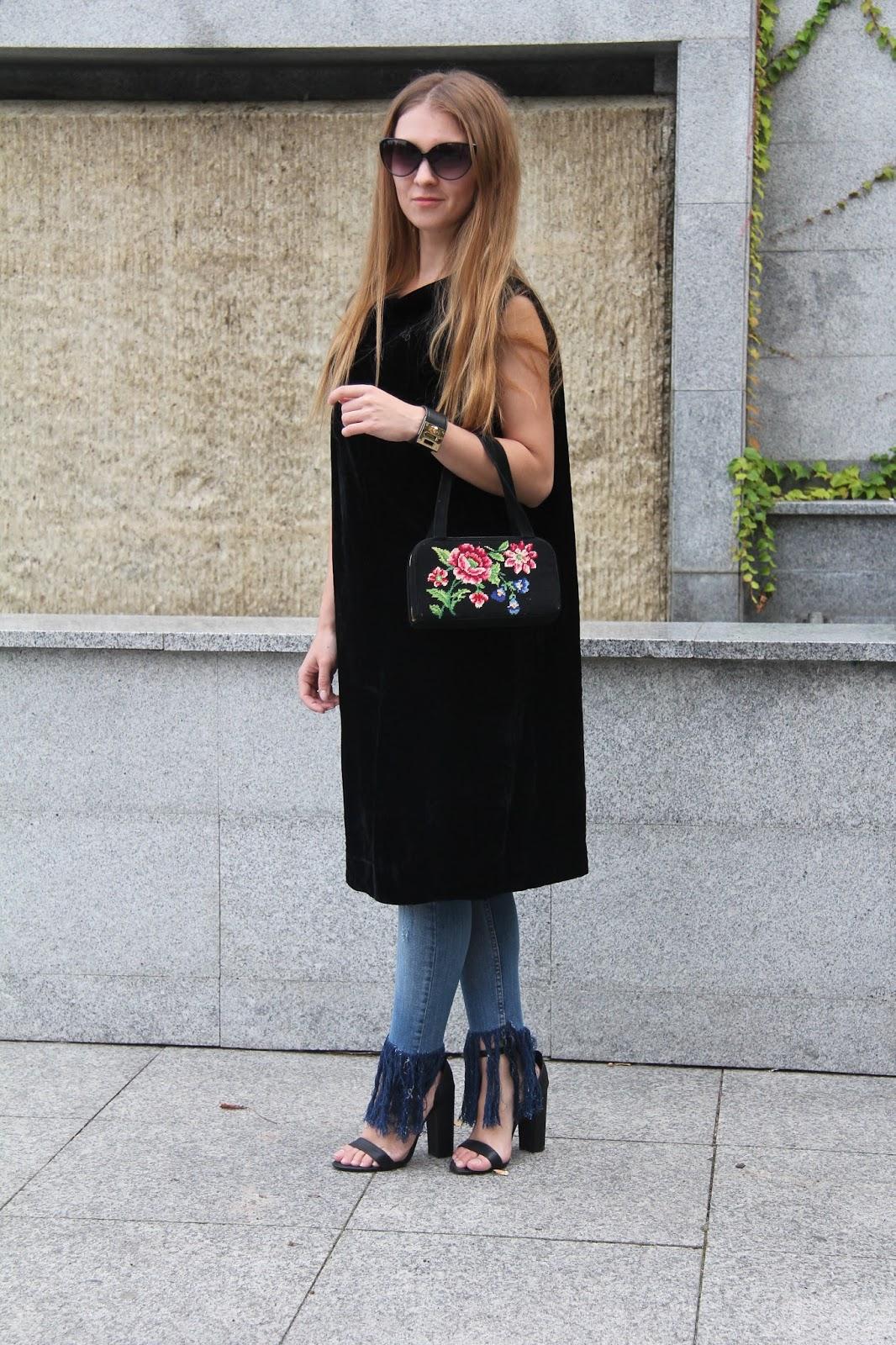 velvet vintage dress and jeans