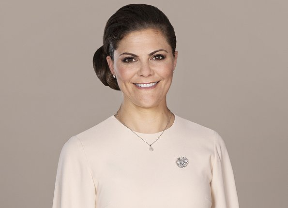 Crown Princess Victoria of Sweden celebrates her 41st birthday. wore pink dress and By Malene Birger pumps