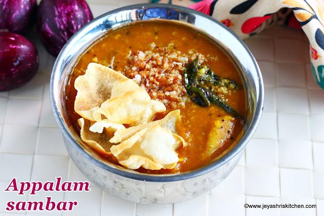 Appalam-sambar recipe