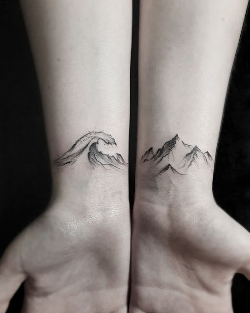 Lovely Wrist Wave & Mountain Tattoos For Girls