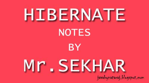 Hibernate notes by Mr.Sekhar -JavabynataraJ