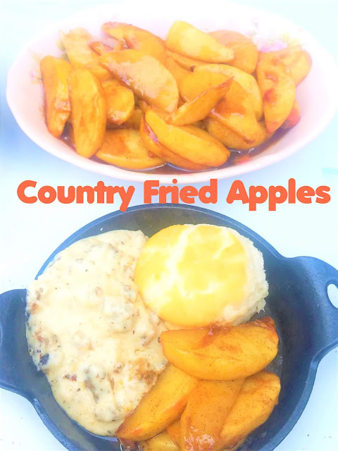 Country Fried Apples served along side biscuits and gravy