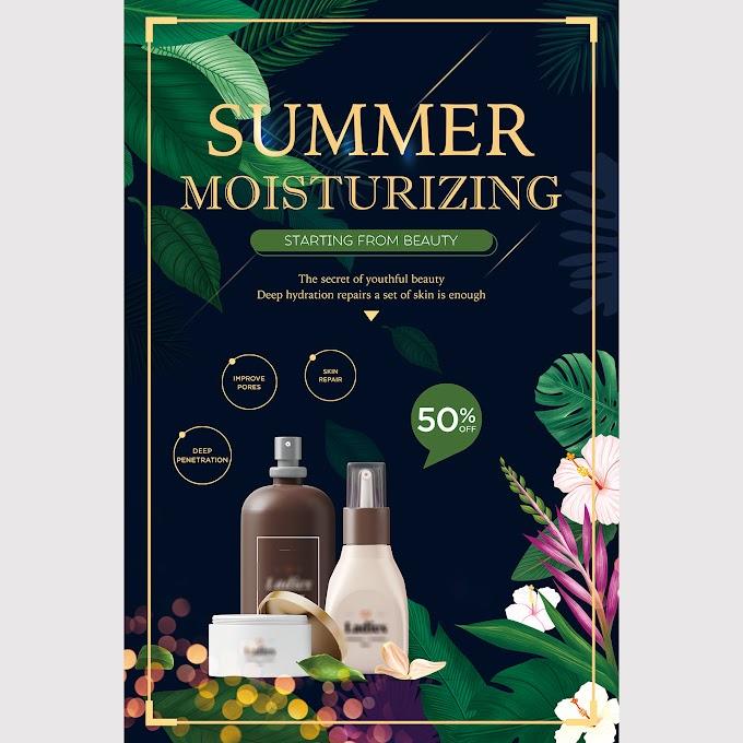 Summer moisturizing cosmetics poster Template PSD
