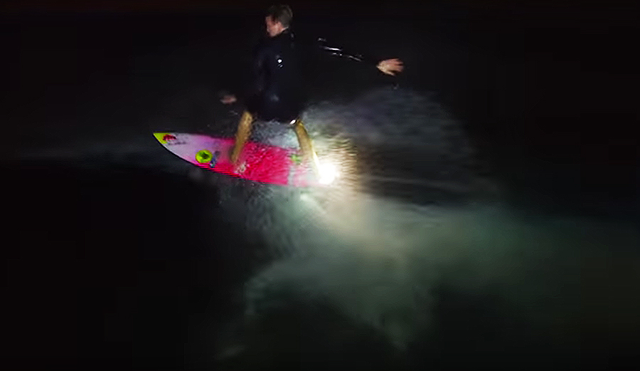 Jamie O Brien Surfs at Night While Being Lit with Lume Cubes on a DJI Phantom 3