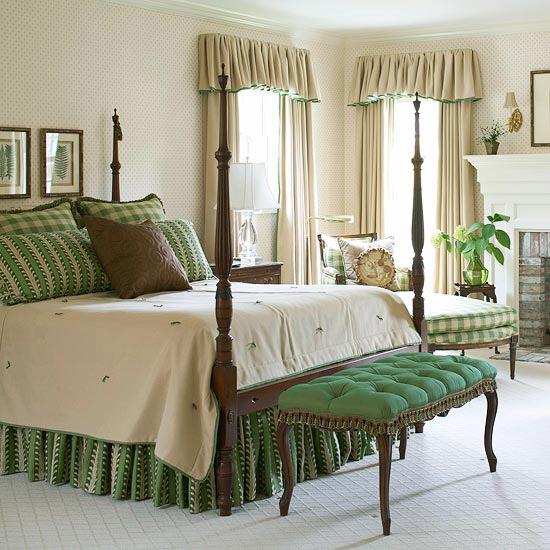 Dormitorio decorado en verde dormitorios con estilo for Cortinas para dormitorio matrimonial