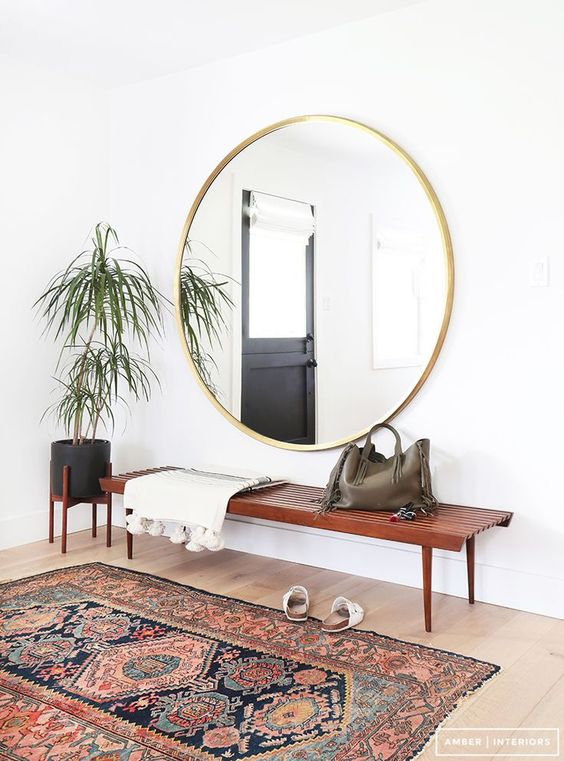 A Big Mirror To Give The Illusion Of Spacious Interior Pick Fancy Golden One And Match It With Cute Plants Bench Traditional Rug