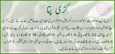 nutrition value of Curry Leaf in Urdu