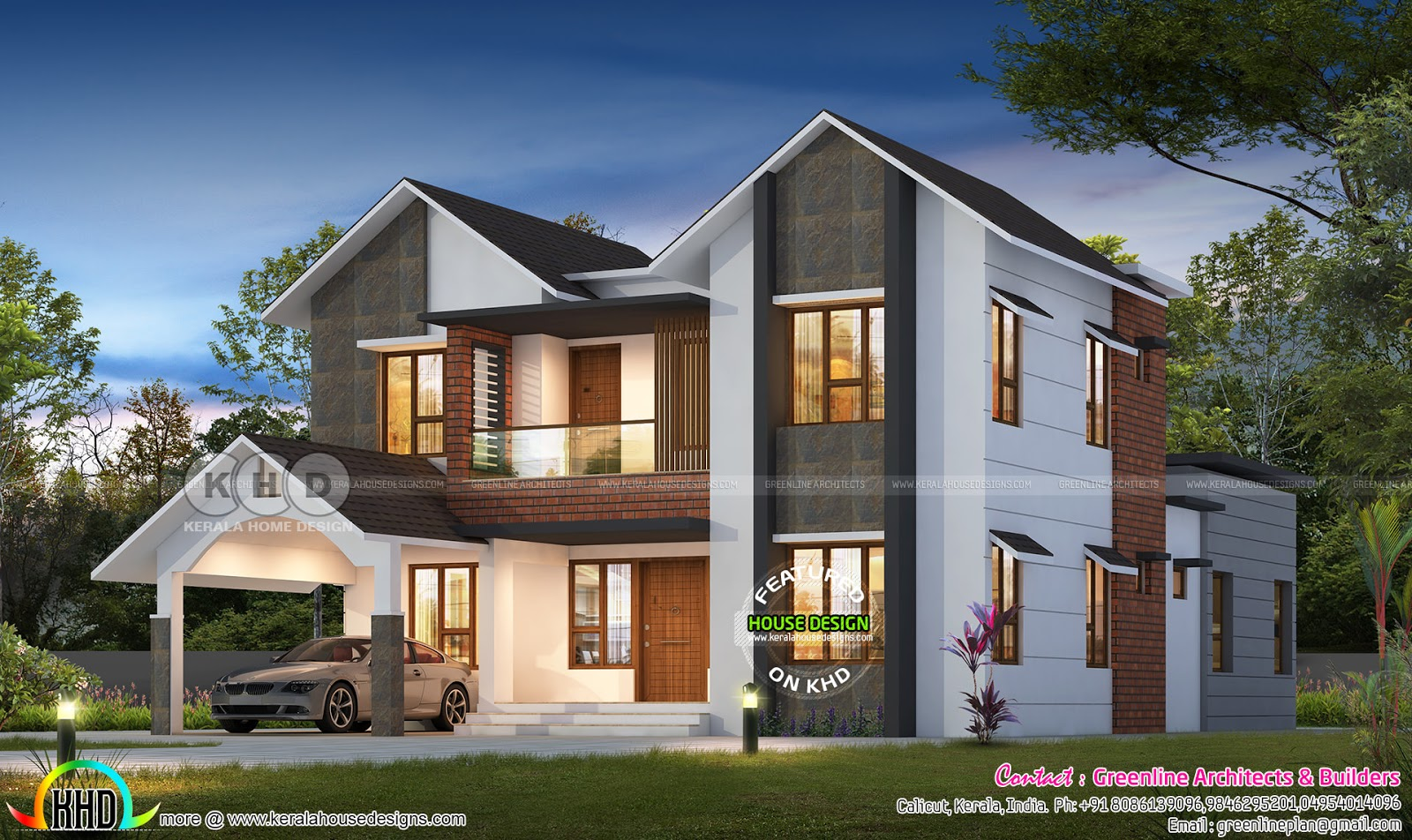 2777 Square Feet 4 Bedroom Sloped Roof Contemporary Home Kerala Home Design Bloglovin