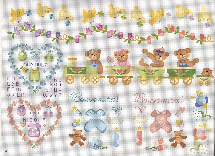 Punto de cruz mas de 5 000 gr ficos beb s for Disegni punto croce per lenzuolini neonati