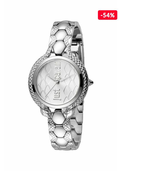Ceas femei elegant argintiu  Just Cavalli Only Time JC1L046M0055 reducere -54%
