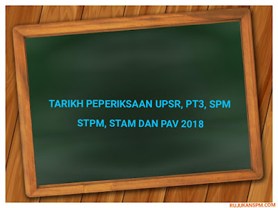 Tarikh Peperiksaan UPSR, PT3, SPM, STPM, STAM dan PAV 2018