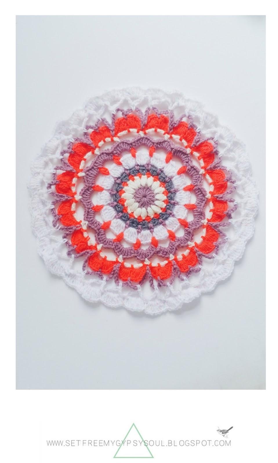 free mandala crochet pattern spring neon bohemian rug