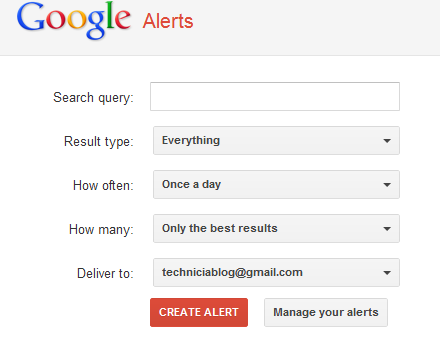 Setting up Alerts on Google Alerts