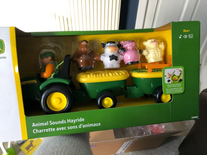 John Deere tractor and farmer with farm animals toy