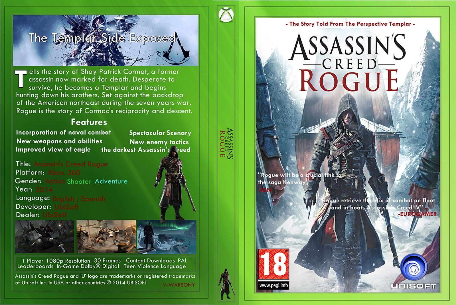 Capa Assassins Creed Rogue Xbox 360