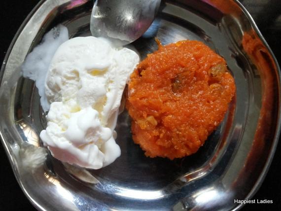 carrat halwa vanilla icecream
