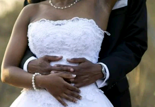 A couple's white wedding picture