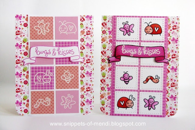 Lawn Fawn Bugs & Kisses Valentine's Day Cards by Mendi Yoshikawa (with papers from Doodlebug's Lovebugs collection)