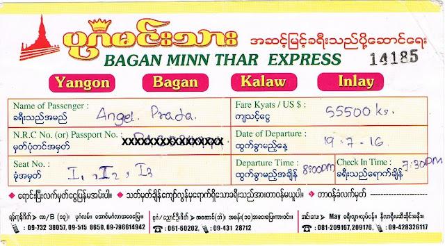 Ticket de autobús Yangon -Bagan