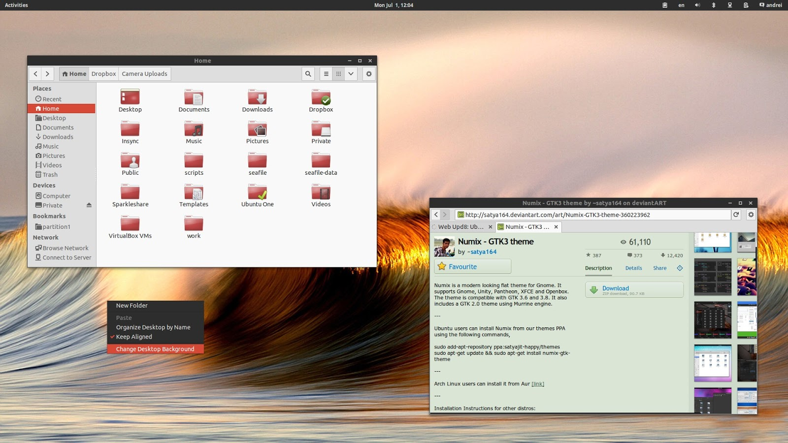 Slick GTK3 Theme `Numix` Updated With Dark Theme Assets ~ Web Upd8