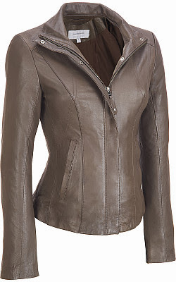Marc New York Center Zip High Collar Leather Scubain Tabacco