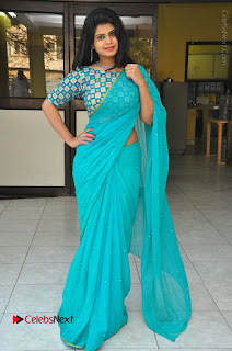 Telugu Actress Alekhya Stills in Green Saree at Swachh Hyderabad Cricket Press Meet  0093.JPG