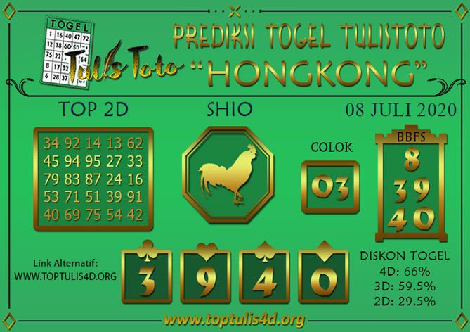 Prediksi Togel HONGKONG TULISTOTO 08 JULI 2020