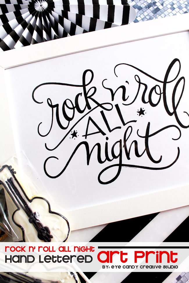 rock n roll all night art print, hand lettering, framed art, digital art