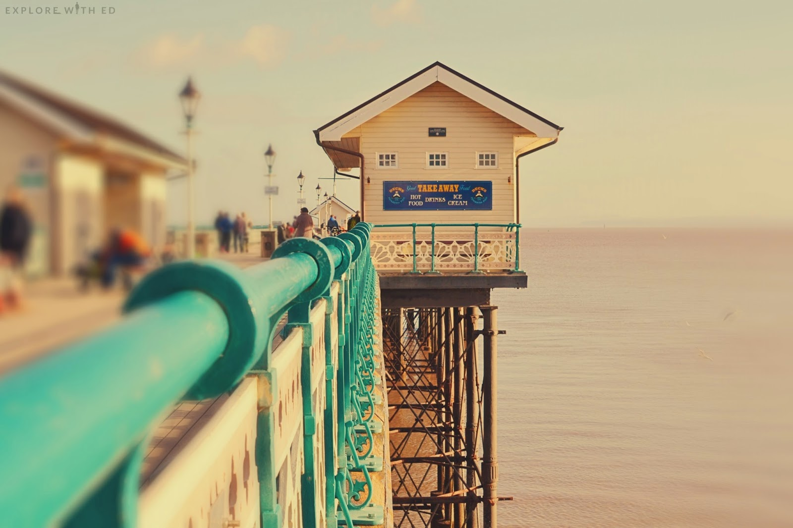 View over the edge of Penarth Pier