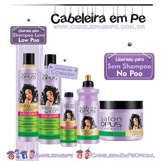 Linha SOS Cachos Enrola que eu gosto - Salon Opus (Shampoo Low Poo) - (Condicionador, Óleo, Creme para Pentear e Máscara liberados para No Poo)