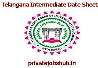 Telangana Intermediate Date Sheet