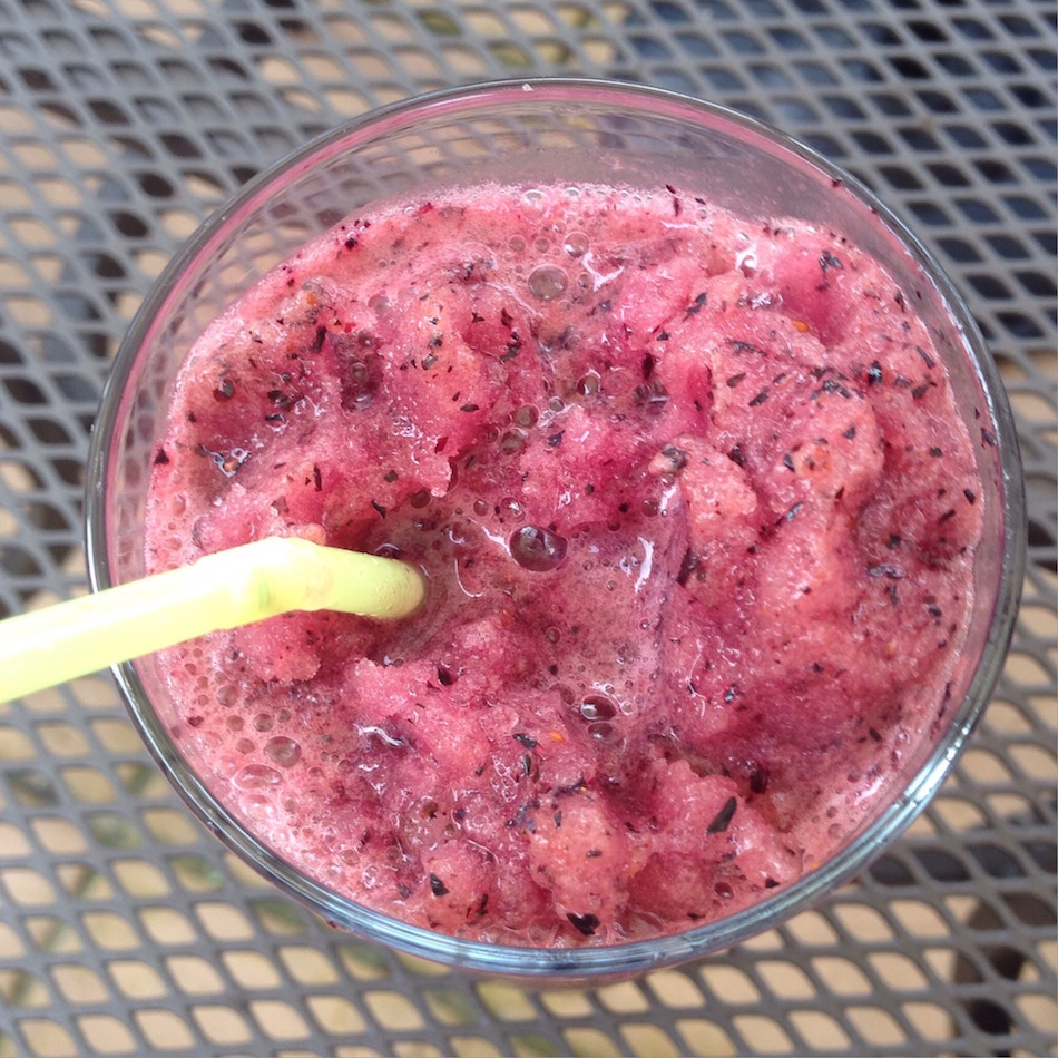 an image of green tea and blueberry slush recipe
