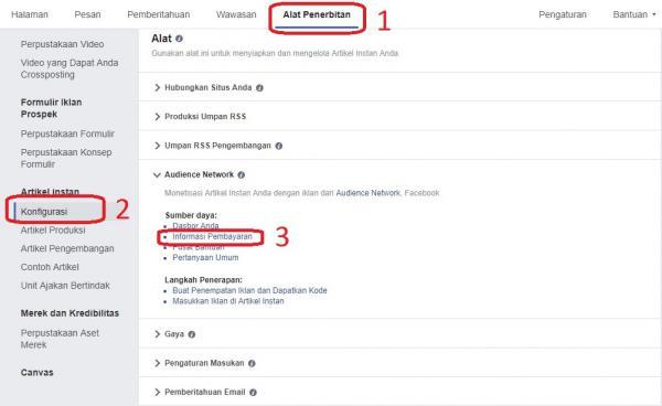 Alat Penerbitan Instant Article, Konfigurasi instant article, audience network instant article