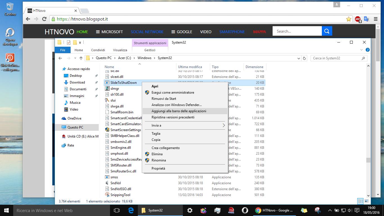 Come spegnere PC Windows 10 con un semplice Slide verso il basso HTN