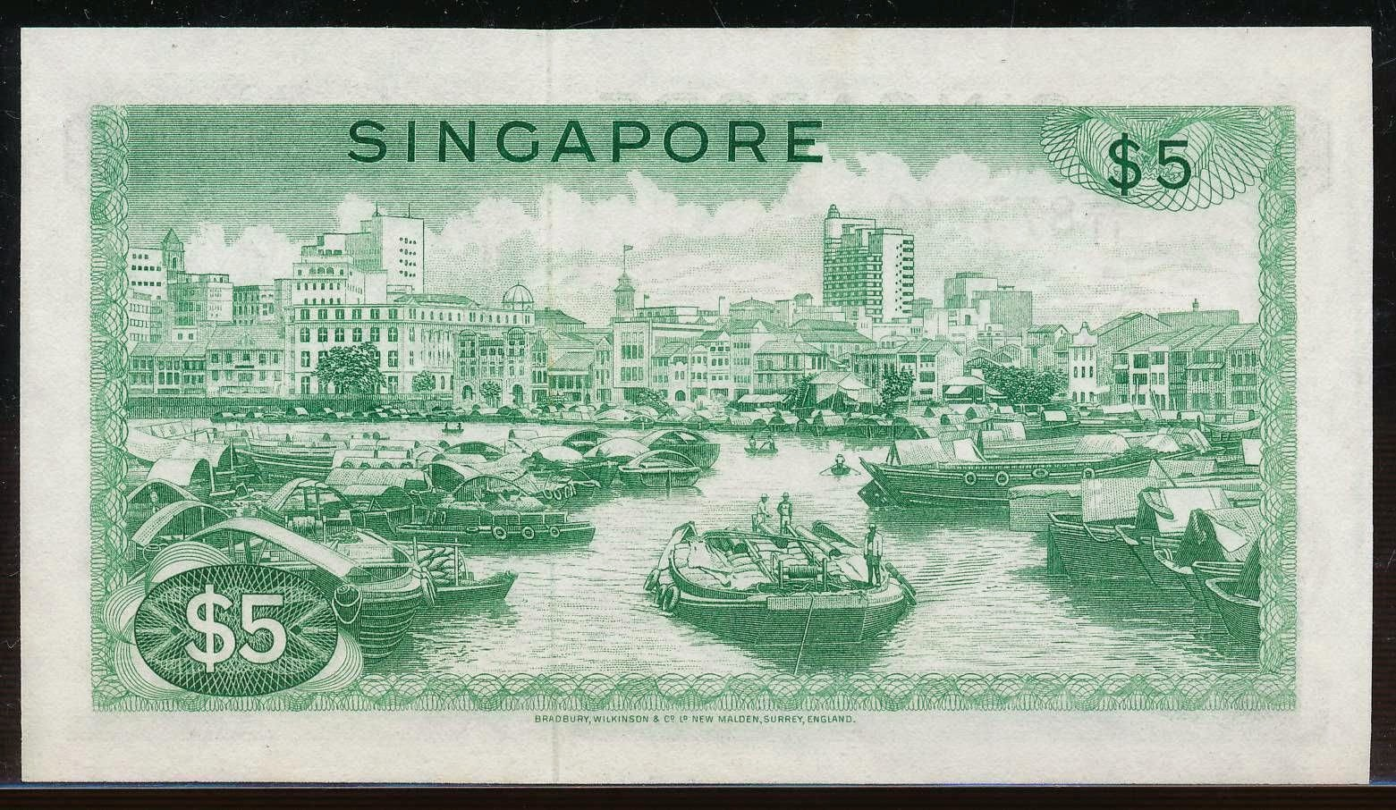 5 Singapore dollar note SGD Orchid