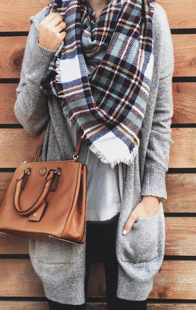 fashion trends | grey cardi + bag + top + scarf + jeans