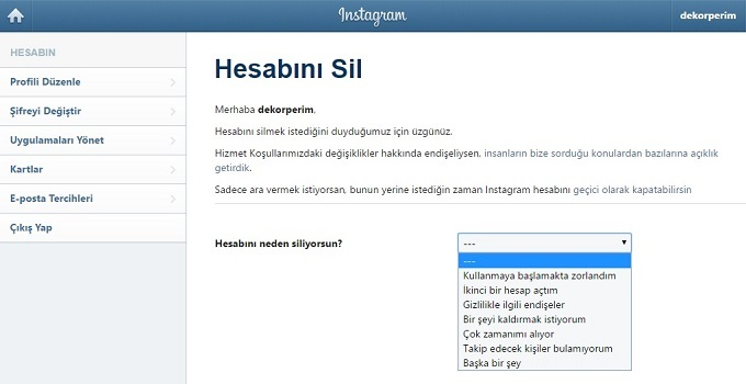 instagram hesap silme kapatma