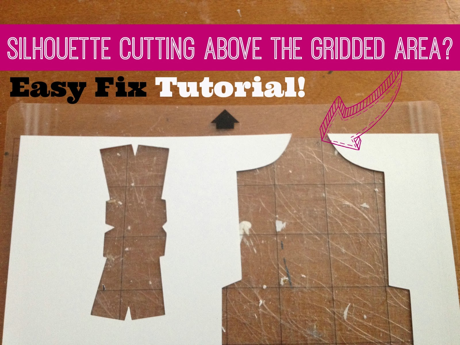 Silhouette tutorial, beginners, cutting above grid
