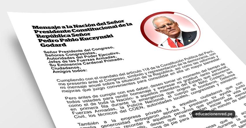 MENSAJE A LA NACIÓN: Texto completo del Mensaje Presidencial 2017 - Pedro Pablo Kuczynski Godard - 28 Julio - DESCARGAR .PDF
