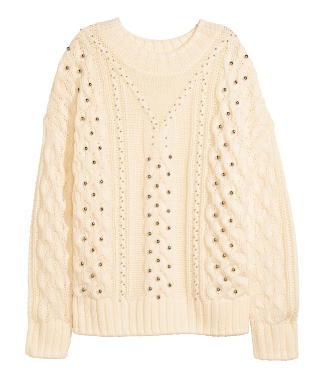 cf. Alexander Wang 2015 AW White Beaded Cable-Knit Sweater