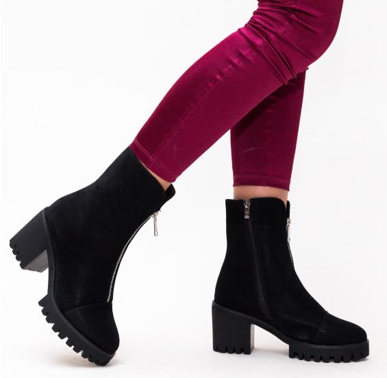 Ghete Negre moderne la moda de femei din piele intoarsa eco de iarna