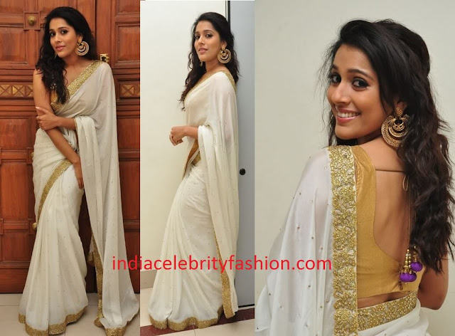 Rashmi Gautam in Off white Saree